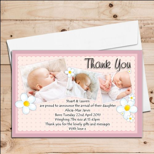 10 Personalised New Baby Girl Birth Announcement Thank You PHOTO cards N70